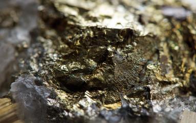 gold, bronze, copper, iron. Macro.