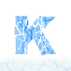 Cracked ice alphabet. Letters, numbers, and symbols of the snow