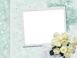 Wedding frame with white roses