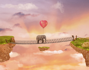 Elephant on a bridge in the sky with balloon. Illustration
