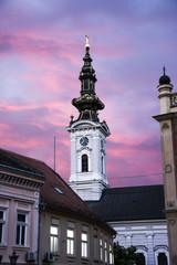 Ortodox church in Novi Sad Serbia at dawn