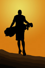 Silhouette of golfer walking away with golfbag into the sunset