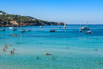 Cala Tarida in Ibiza beach San Jose at Balearic Islands