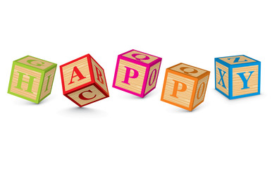 Word HAPPY written with alphabet blocks