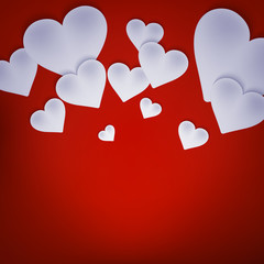 Valentine background with hearts on red. EPS 10