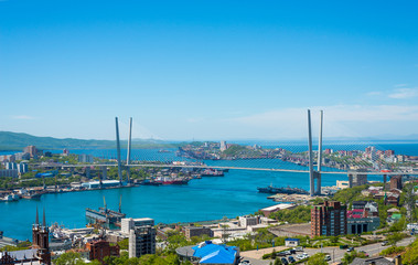 High resolution photo of Vladivostok cityscape, daylight view.