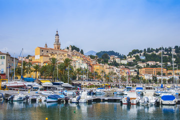 Menton, France. View yachts moored in the city's port