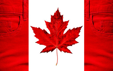 Flag of Canada, jeans, maple