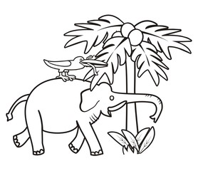 Elephant and bird - coloring book