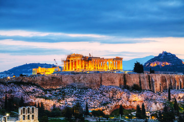 Spoed Fotobehang Athene Acropolis in the evening after sunset