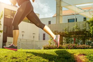 Running woman. half body photo detail