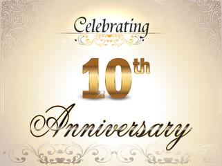10 year anniversary golden label, 10th anniversary
