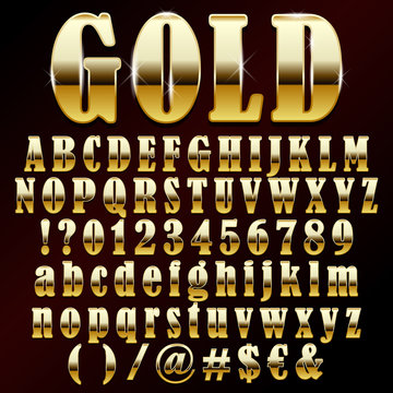 Vector illustration of a gold metal alphabet