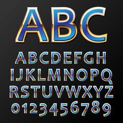 Vector illustration of a blue metal alphabet