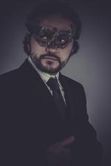 CEO, Portrait of elegant businessman, mysterious venetian mask