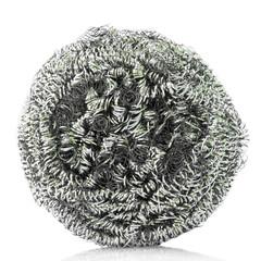 steel wool dishwashing on white background.