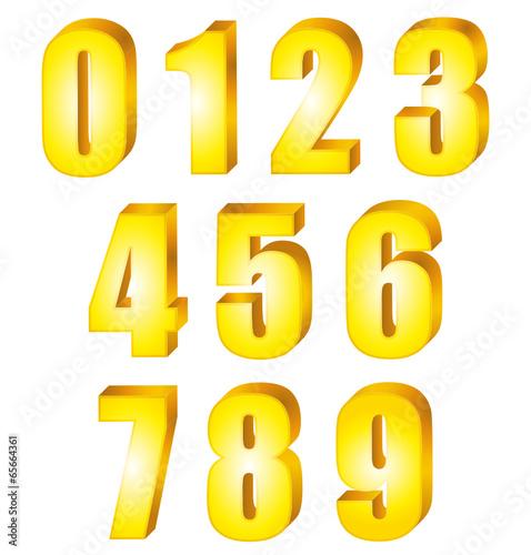 Collection de chiffres jaunes dor s en 3d fichier - Chiffre en carton 3d ...