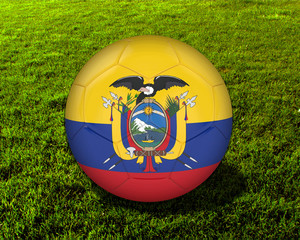 3d Ecuador Soccer Ball with Grass Background - isolated
