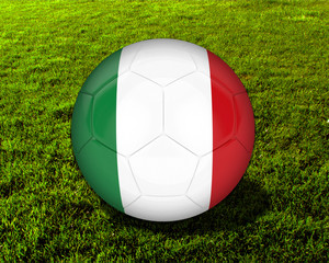 3d Italy Soccer Ball with Grass Background - isolated