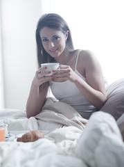 Having breakfast in the bed
