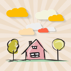 Hand Drawn House with Trees and Paper Clouds on Retro Background