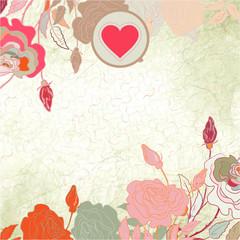 Floral heart valentine card. EPS 8
