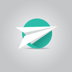 vector paper plane icon with long shadow