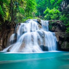 Wall Mural - Deep forest waterfall at National Park Kanchanaburi Thailand