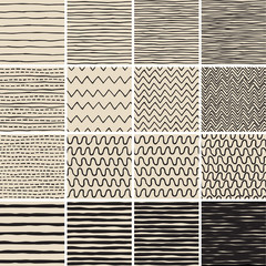 Basic Doodle Seamless Pattern Set No.6 in black and white