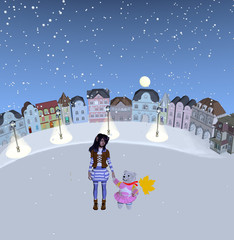girl and cute teddy bear standing in snowy place