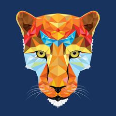 wild cat leopard in geometric pattern, vector