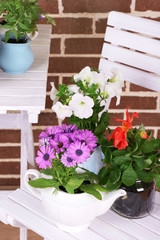 Flowers in  decorative pots on table, on bricks background