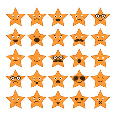 Set of stars with different emotions, happy, sad, smiling icons