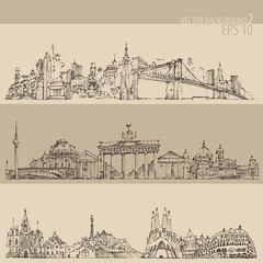 city set (New york, Berlin, Barcelona) engraved illustration