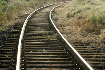 altes gleis mit holzschwellen im bogen durch unkraut
