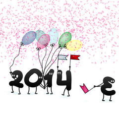 Funny 2014 New Year's Eve greeting card. + EPS10