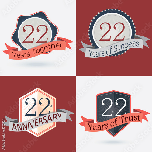 set of retro vector stamps seal for 9th business anniversary