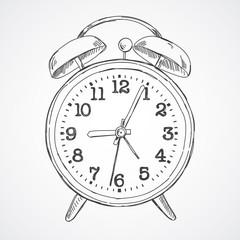 Hand drawn vector sketch illustration alarm clock