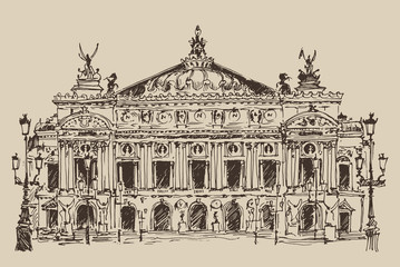 Paris, Palais Garnier vintage engraved illustration