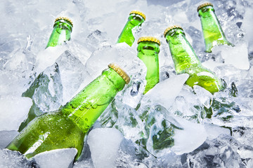 Cold beer bottles on ice