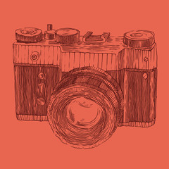 hipster photo camera engraved retro style, hand drawn