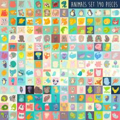 cute cartoon animals set 190 pieces, vector illustration