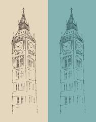 Big Ben London vintage illustration, engraved style