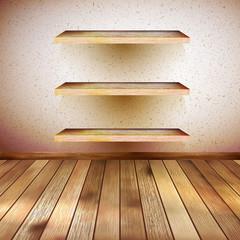 Grunge wooden interior with shelf. EPS 10