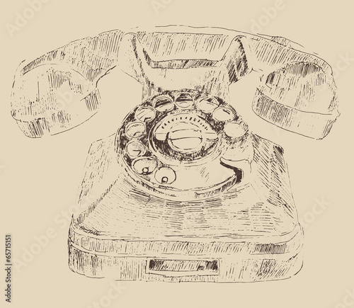 retro (old) telephone vintage illustration, engraved retro