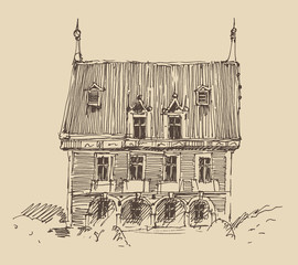 old house, village, architecture, engraved illustration