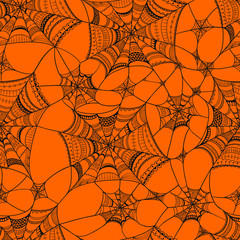 Vector seamless pattern with  spider web on orange