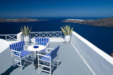 Terrasse auf Santorin - Griechenland