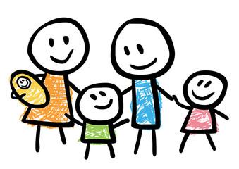Kindliche Zeichnung einer glücklichen Familie – Vektor