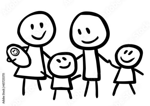Kindliche Zeichnung Einer Glucklichen Familie Vektor Stock